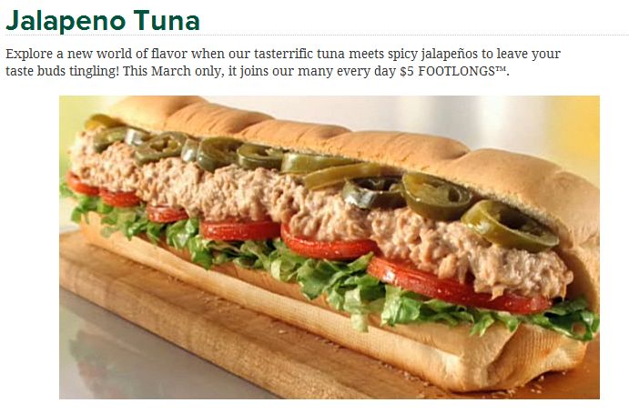 Subway 39 s march lineup 5 jalapeno tuna and the italian for Fish sandwich calories