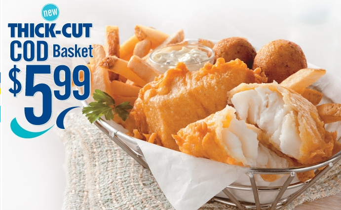 Long john silver 39 s thick cut cod basket review fast for Long john silver s fish and chips
