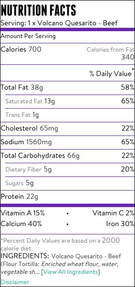 Taco Bell Volcano Quesarito Nutrition Info