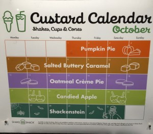 Shake Shack Custard Calendar October