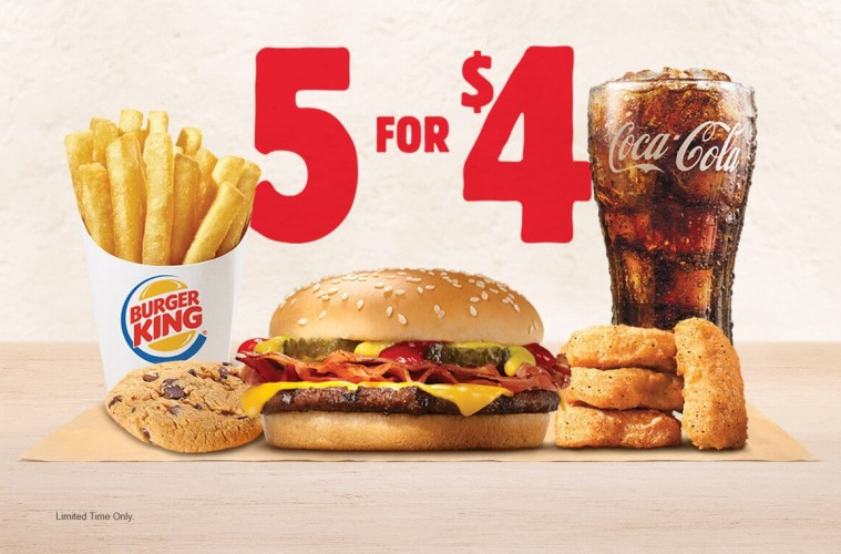Burger King Gets Into The Value Meal Game With 5 For 4 Deal