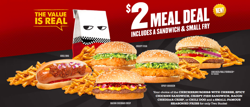 Checker 39 s and rally 39 s offering 2 meal deal fast food geek for Checkers fish sandwich