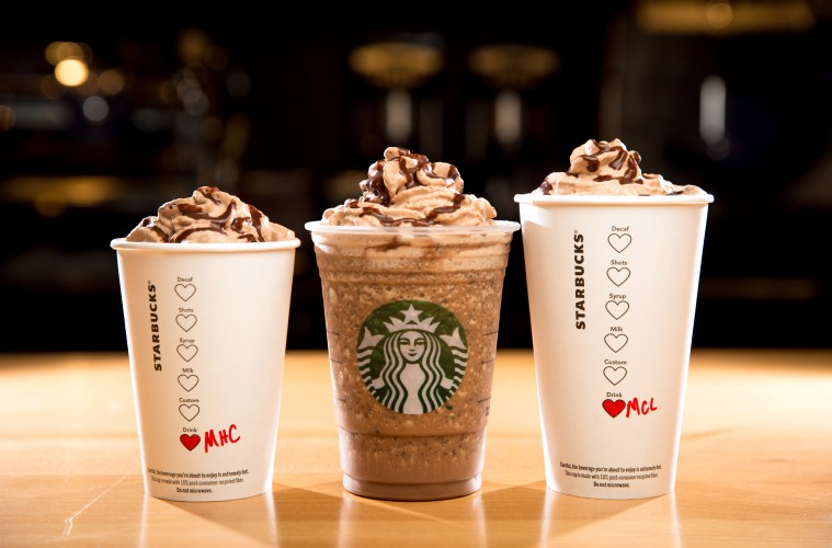 From left, the Molten Hot Chocolate, Molten Chocolate Frappuccino Blended Beverage, and Molten Chocolate Latte are shown. The Valentine's Molten Chocolate Trio drinks will help celebrate Valentine's Day. Photographed on January 29, 2016. (Joshua Trujillo, Starbucks)