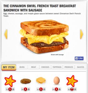Hardee's Cinnamon Swirl French Toast Breakfast Sandwich