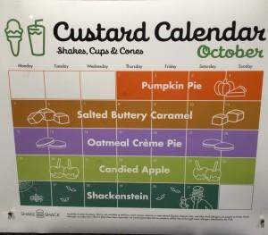 Shake Shack Custard Calendar October